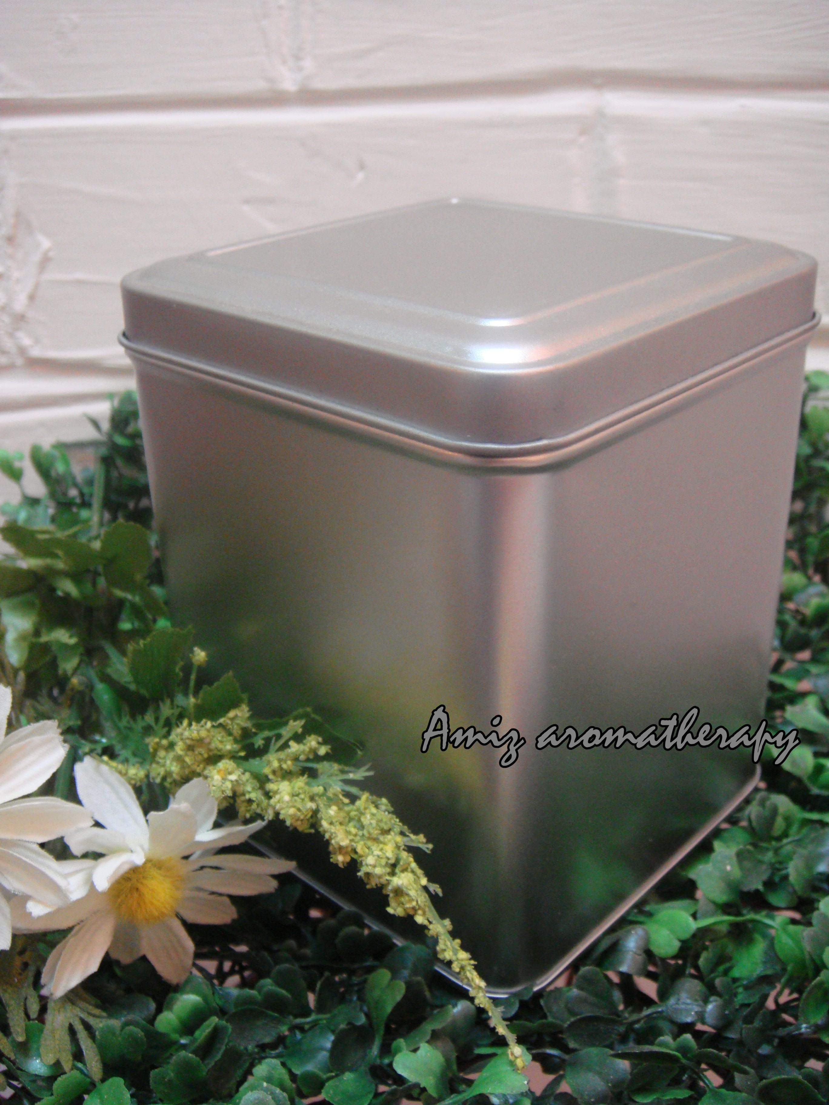 花茶銀色鐡罐(方型)|Metal silver tea tin in square-shaped